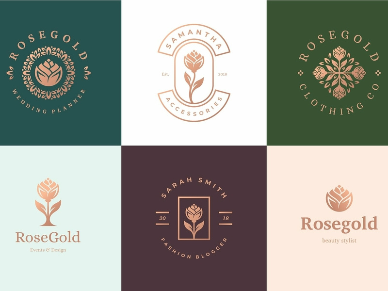 Rose Gold Logo Combinations by Logo Templates on Dribbble.