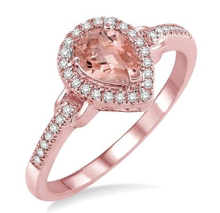 14K Rose Gold, .15cttw Diamond and Pear Shaped Morganite Ring.