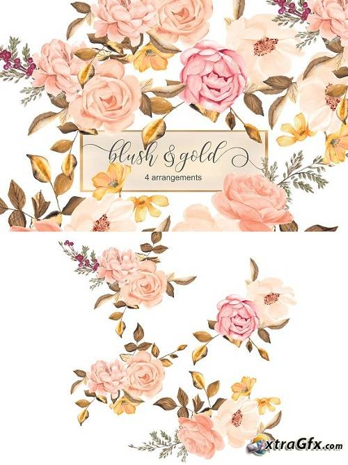 Blush & Gold Roses Clip Art 1719599 » xtraGFX Creating the.