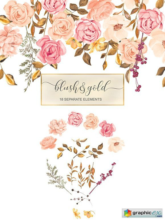 Blush & Gold Roses Clip Art » Free Download Vector Stock.