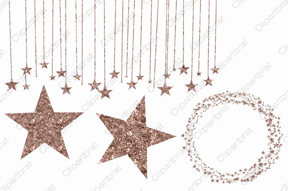 Metallic Rose Gold Glitter Sparkle Stars Clipart Set By.