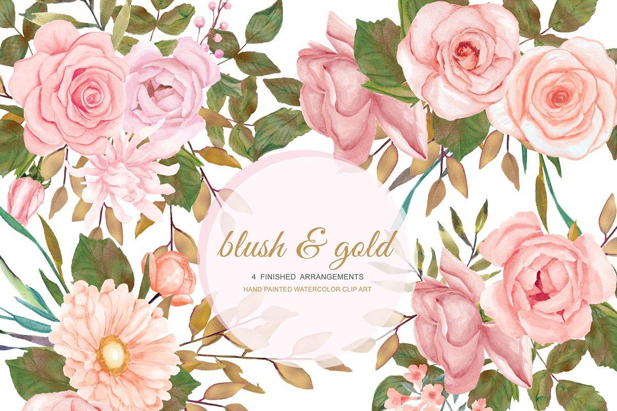 Watercolor Blush Gold Rose Clip Art.