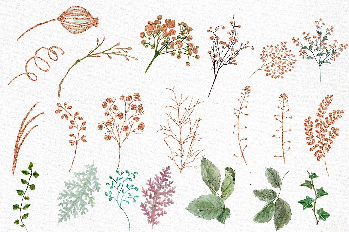 Rose Gold watercolor flowers clipart #illustrations#Perfect.