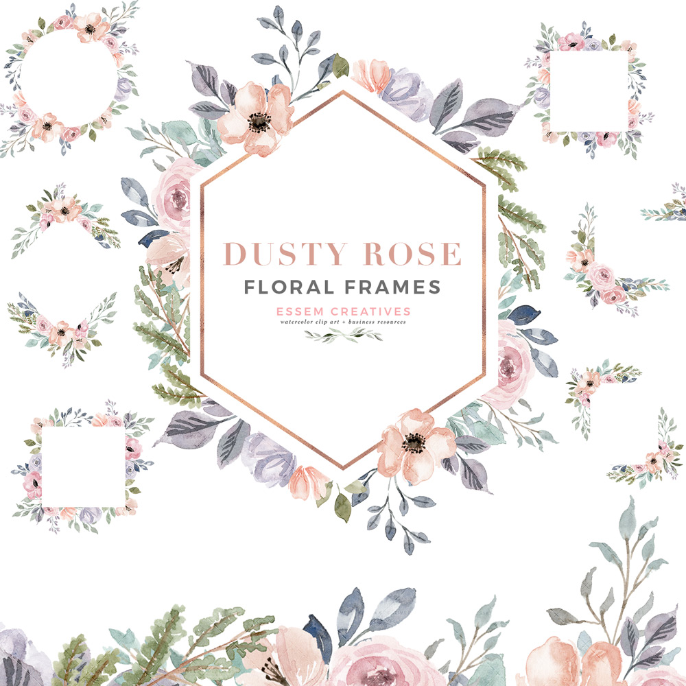 Dusty Rose Watercolor Floral Frames Clipart with Geometric Rose Gold Accents.