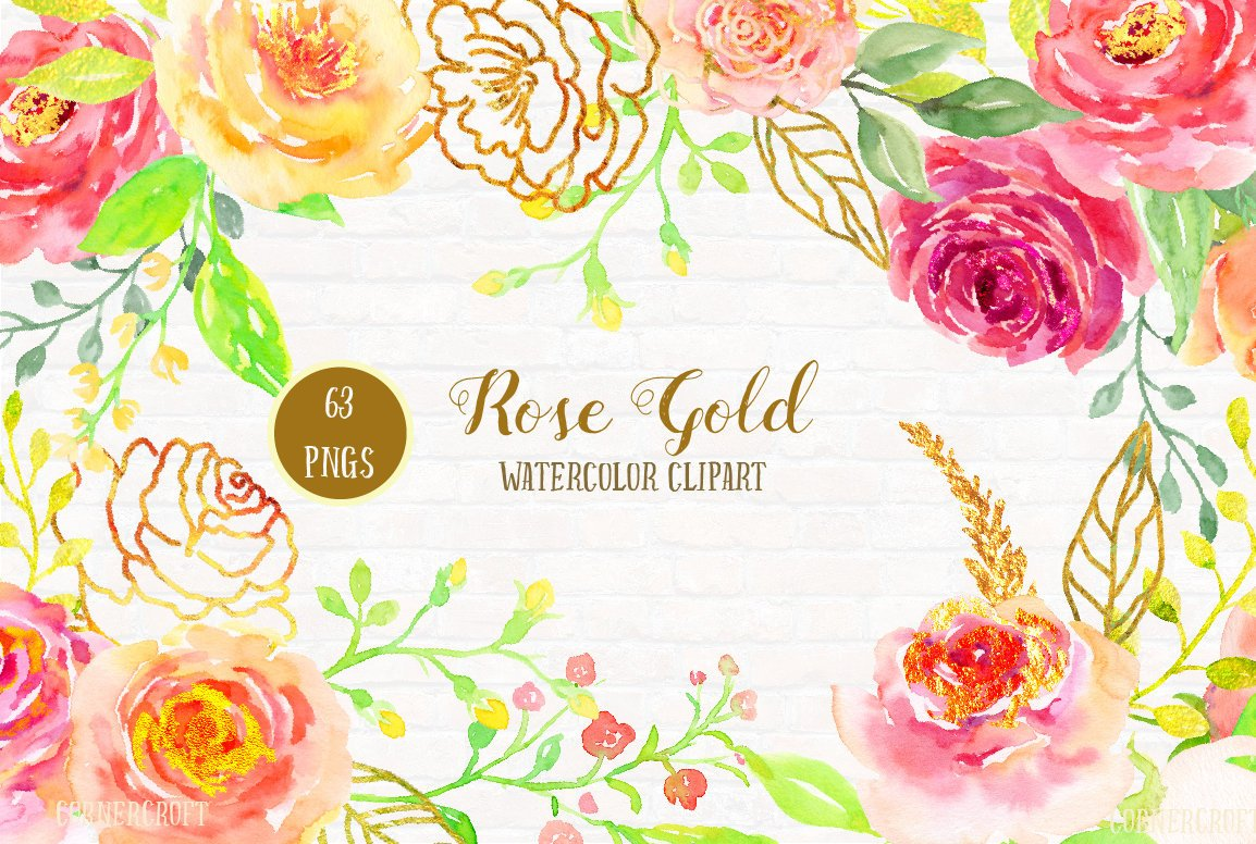 Watercolor Rose Gold, pink, peach, gold rose, rose frame, watercolor  clipart for instant download.