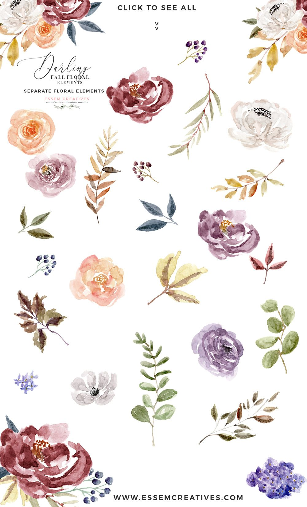 Fall Floral Watercolor Clipart, Burgundy Rose Gold Geometric.