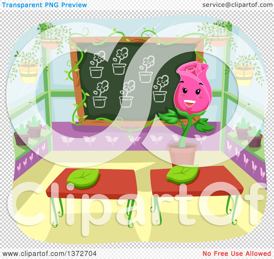 Clipart of a Happy Rose Flower Teacher in a Green House Class Room.