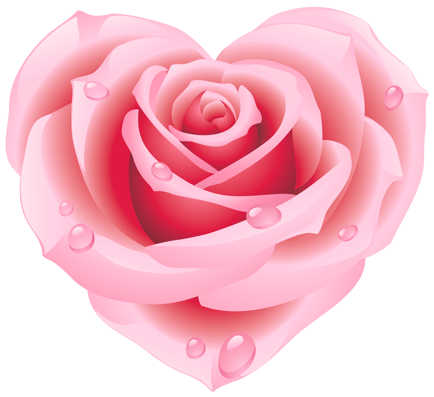 Large Pink Rose Heart Clipart.