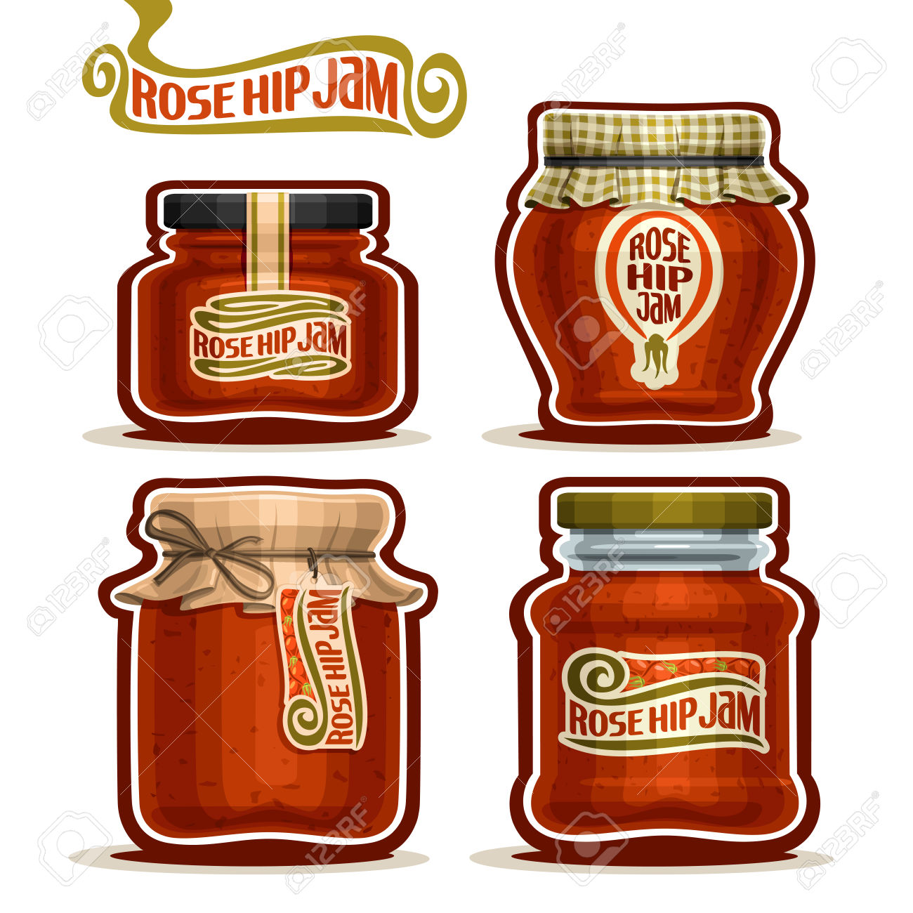 Rose Hip Jam In Jars With Paper Lid, Pot Home Made Rosehip Jams.