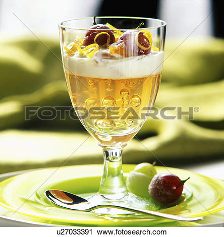 Stock Photography of Rose Wine Jelly With Frosted Grapes u27033391.