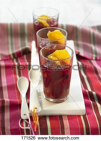 Stock Images of Hibiscus jelly with oranges,blueberries and rose.