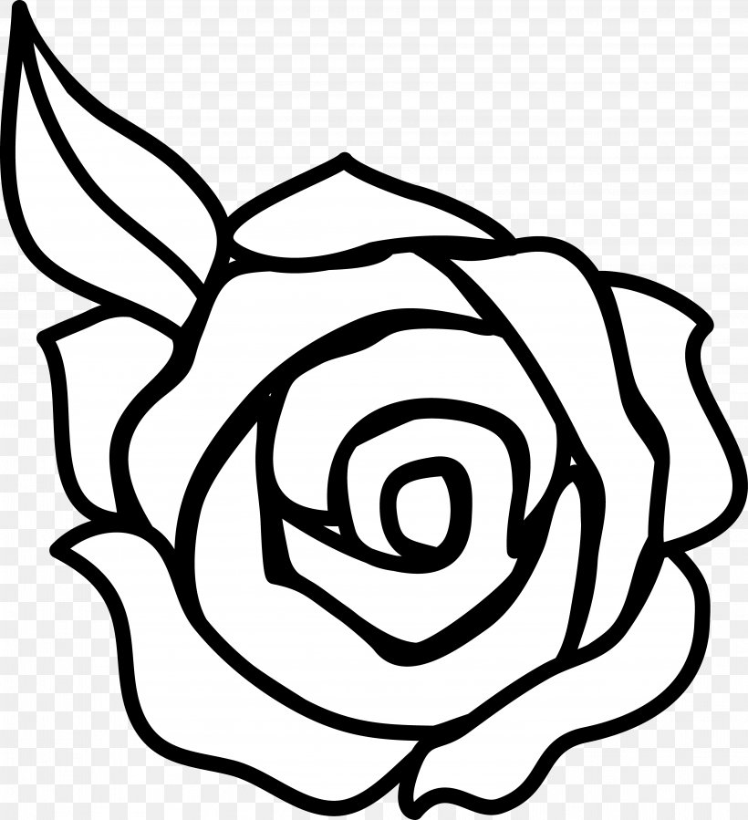 Rose Outline Drawing Clip Art, PNG, 4042x4434px, Rose, Area.