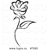 Royalty Free Black and White Rose Stock Logo Designs.