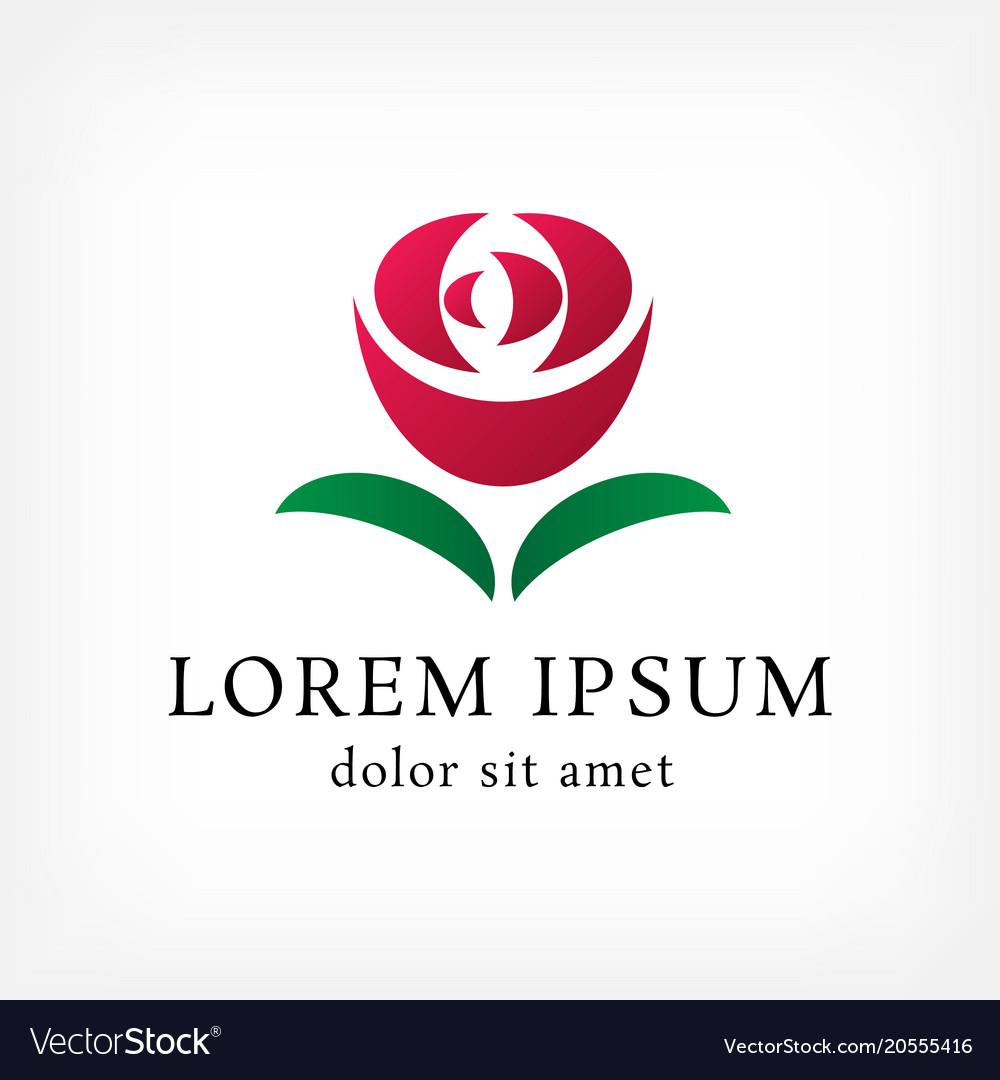 Red rose with leaf curve logo design template.