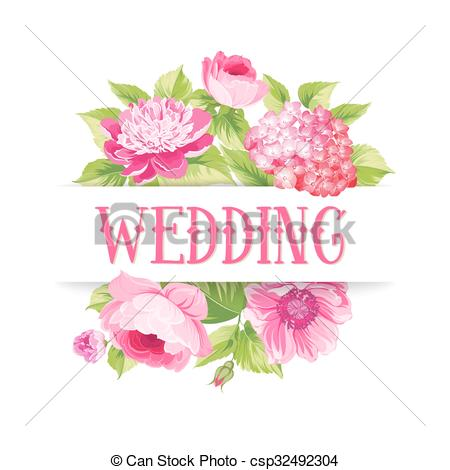 Vector Clipart of Rose mallow garland isolated over white with.