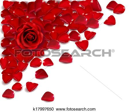 Clipart of Background of red rose petals. Vector k17997650.