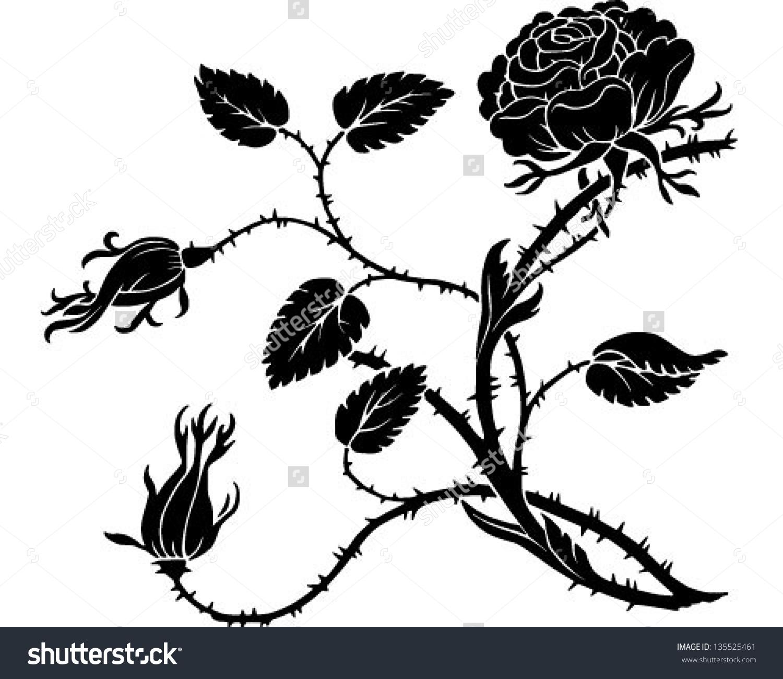 Thorny Rose Retro Clip Art Illustration Stock Vector 135525461.