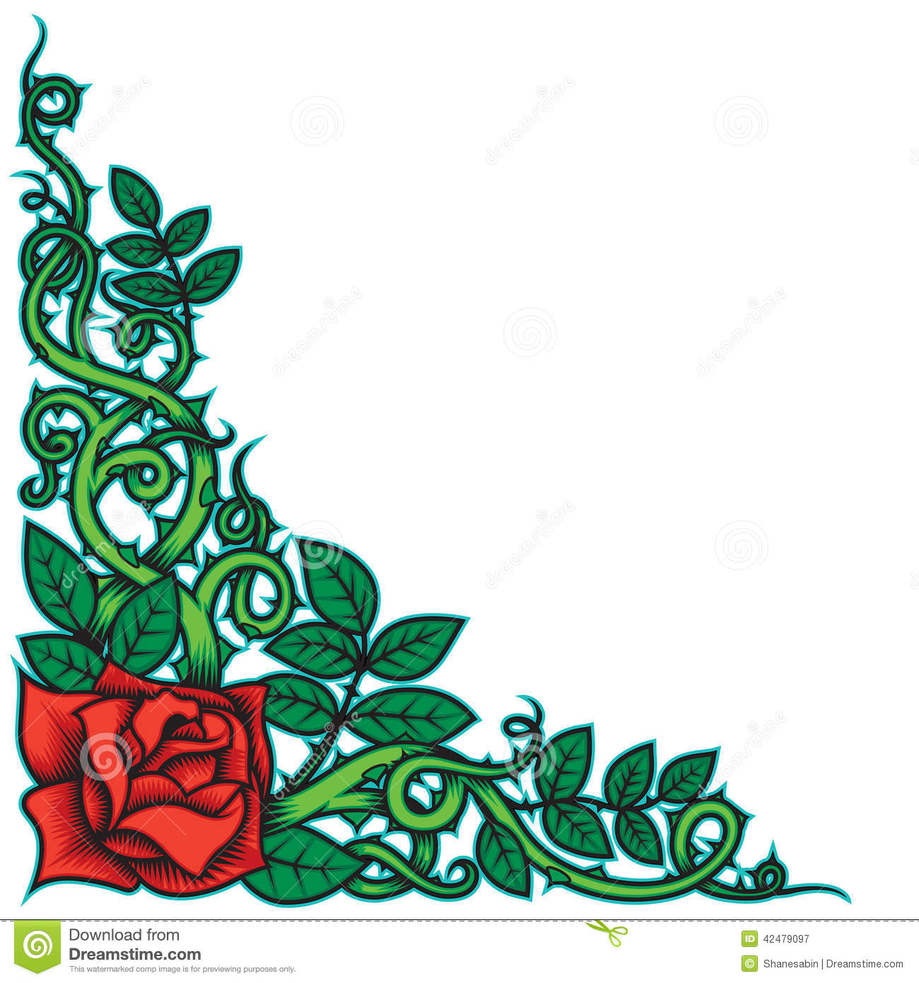 Rose And Thorns Border Stock Vector.