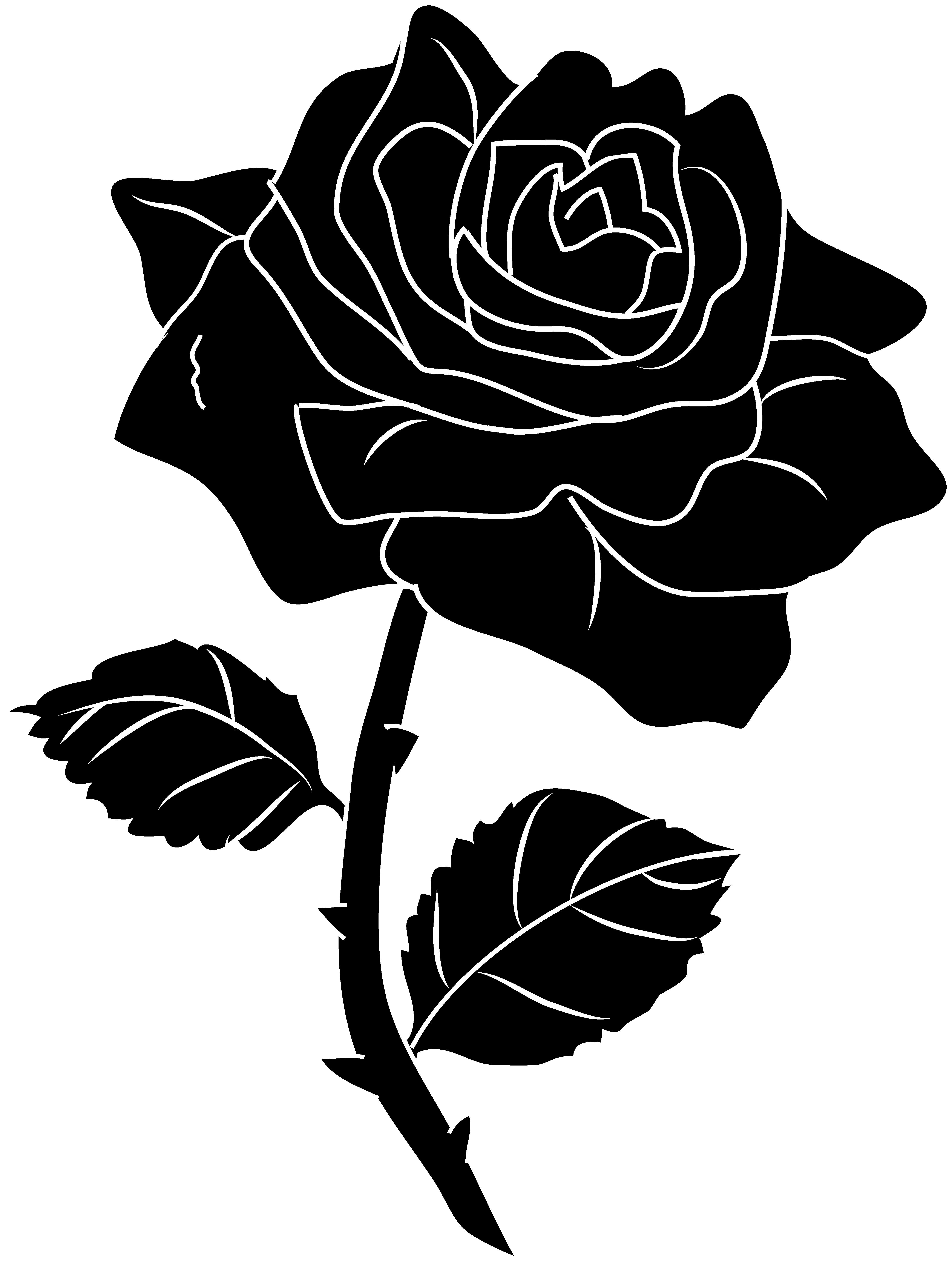 Black Rose Silhouette Clip Art.