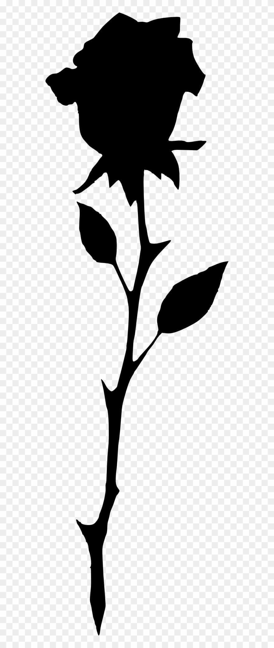Long Stem Rose Silhouette.