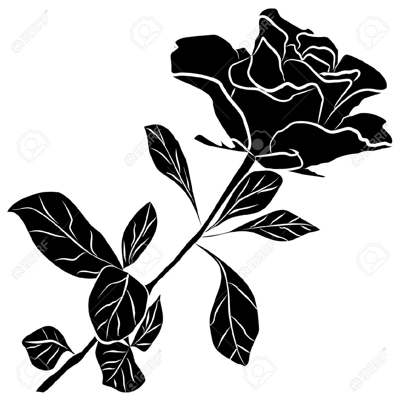 Rose silhouette clipart - Clipground