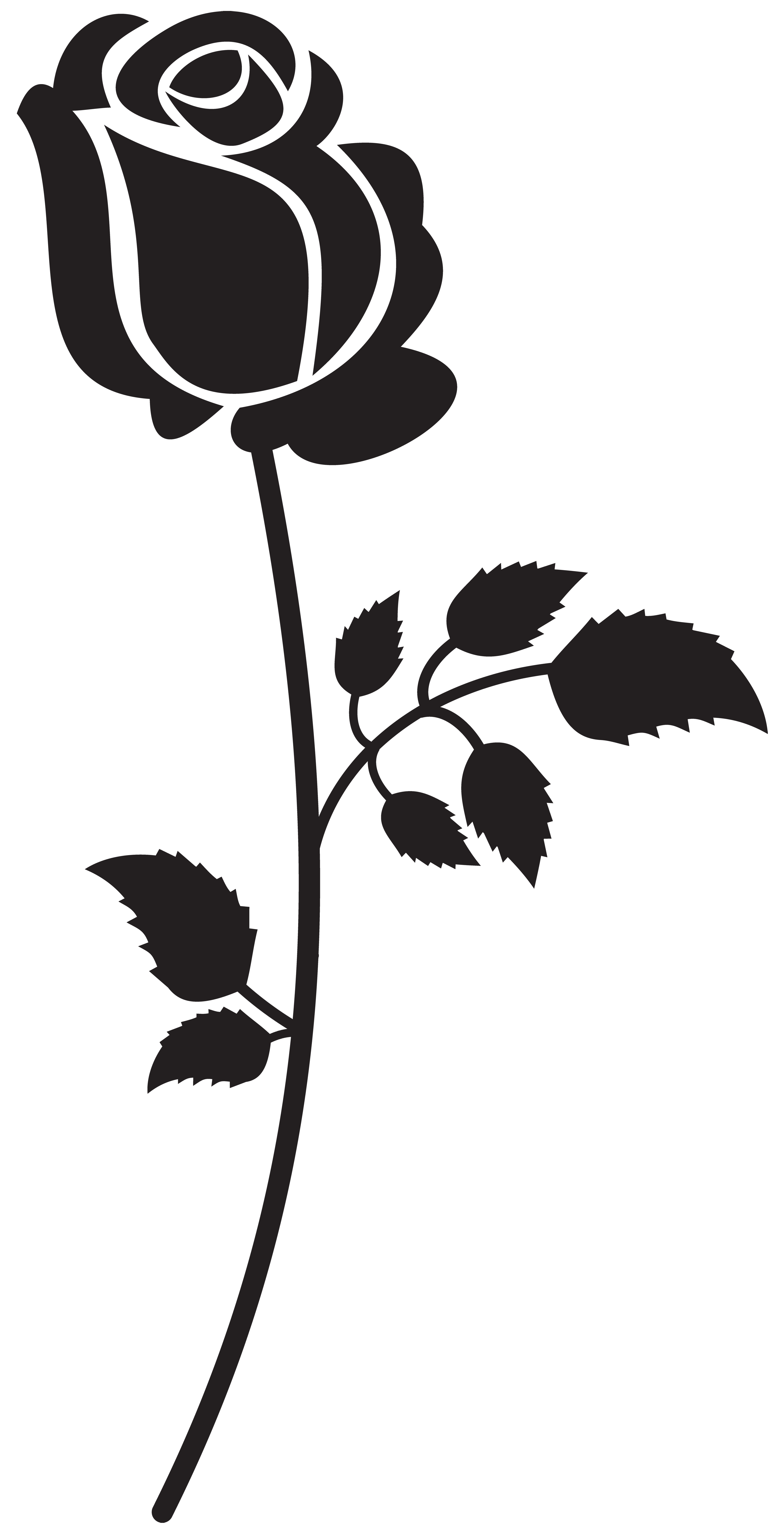 Rose Silhouette PNG Clip Art Image.