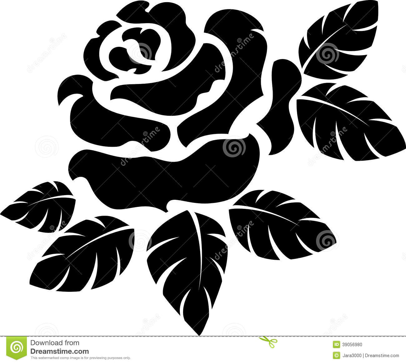 Rose Silhouette Stock Vector.