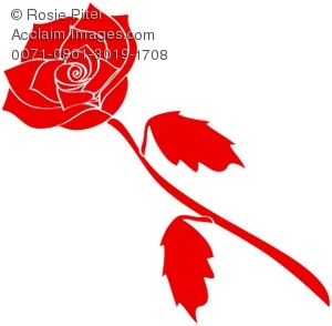 Clipart Illustration of a Long Stem, Red Rose on a White.