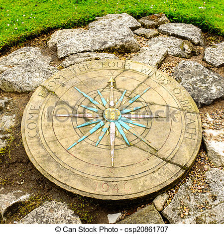 Stock Photography of A compass rose in a small park next to York's.