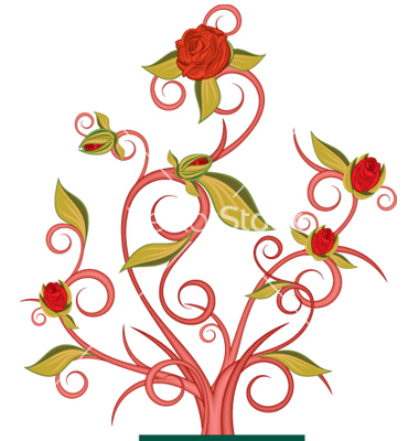 Rose tree vector by PILart.