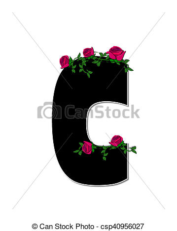 Clip Art of Alphabet Rose Trellis C.