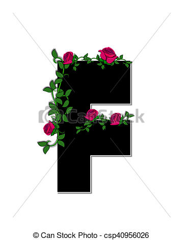 Clip Art of Alphabet Rose Trellis F.