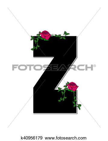 Stock Illustration of Alphabet Rose Trellis Z k40956179.
