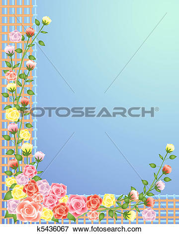 Clip Art of rose trellis k5436067.