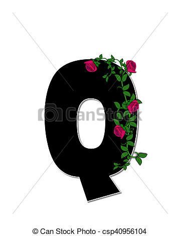 Stock Illustration of Alphabet Rose Trellis Q.