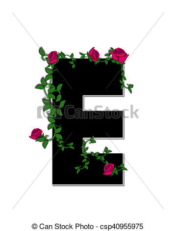 Stock Illustrations of Alphabet Rose Trellis E.
