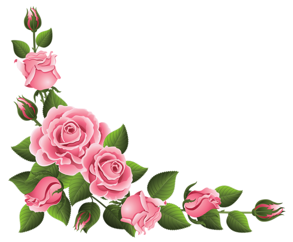 Corner Decoration with Roses PNG Clipart Picture.