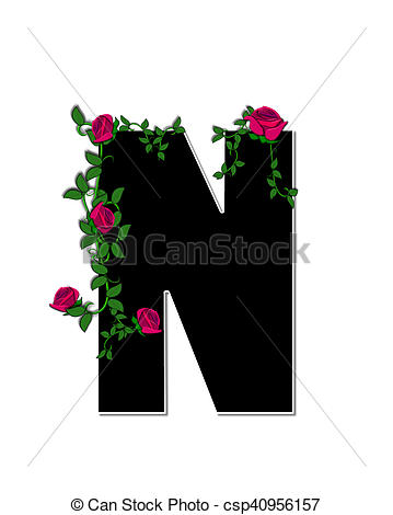 Stock Illustrations of Alphabet Rose Trellis N.