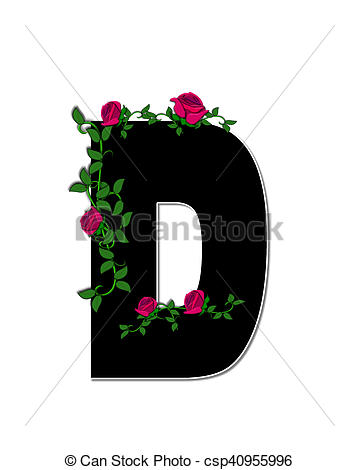 Stock Illustration of Alphabet Rose Trellis D.