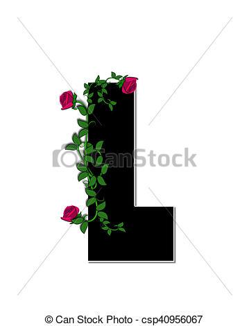 Stock Illustration of Alphabet Rose Trellis L.