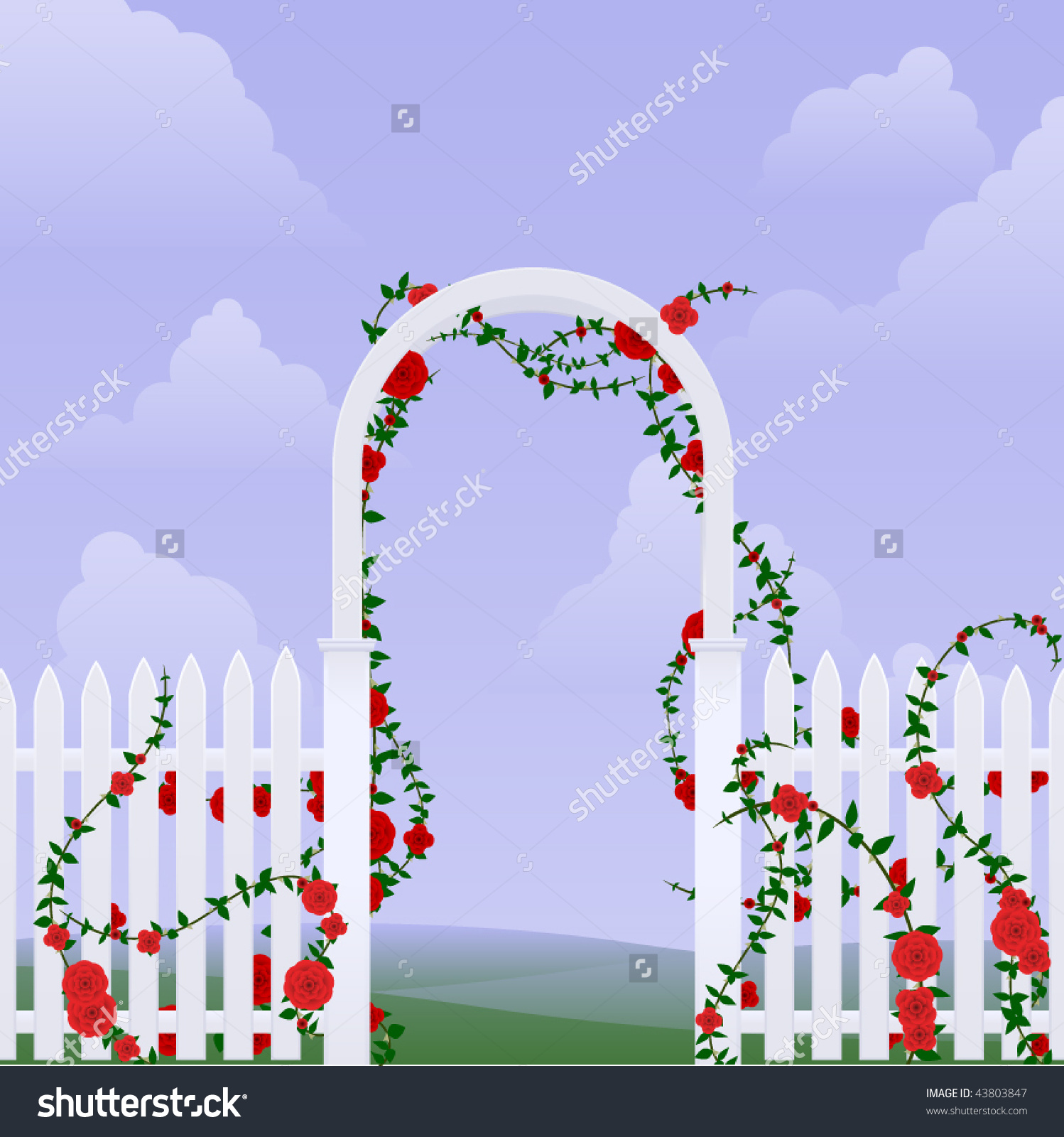 Simple Arbor With Climbing Roses Against A Sky Stock Vector.