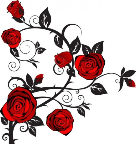 Rose Clip Art Black And White Vine.