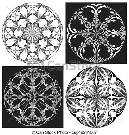 Clip Art Vector of Set of Rose Windows.
