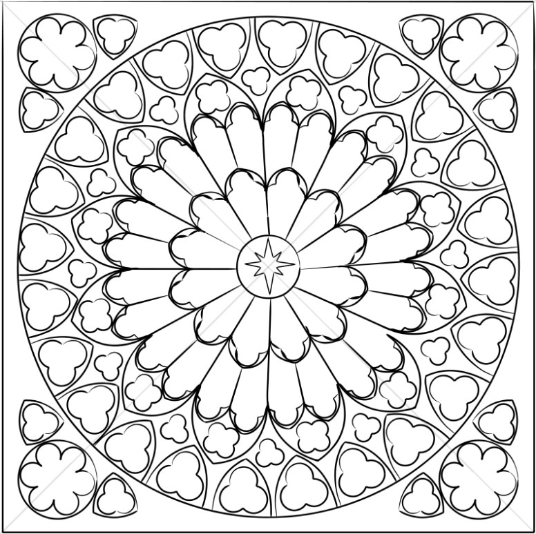 Black and White Rose Window.