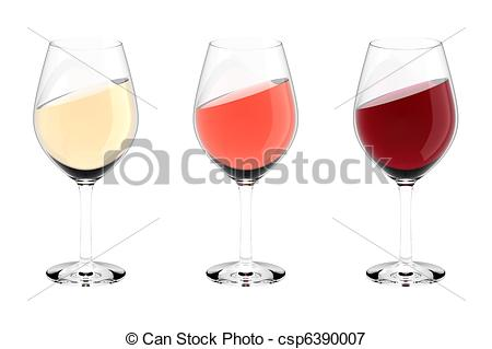 Stock Illustrations of wine glasses white red rose.