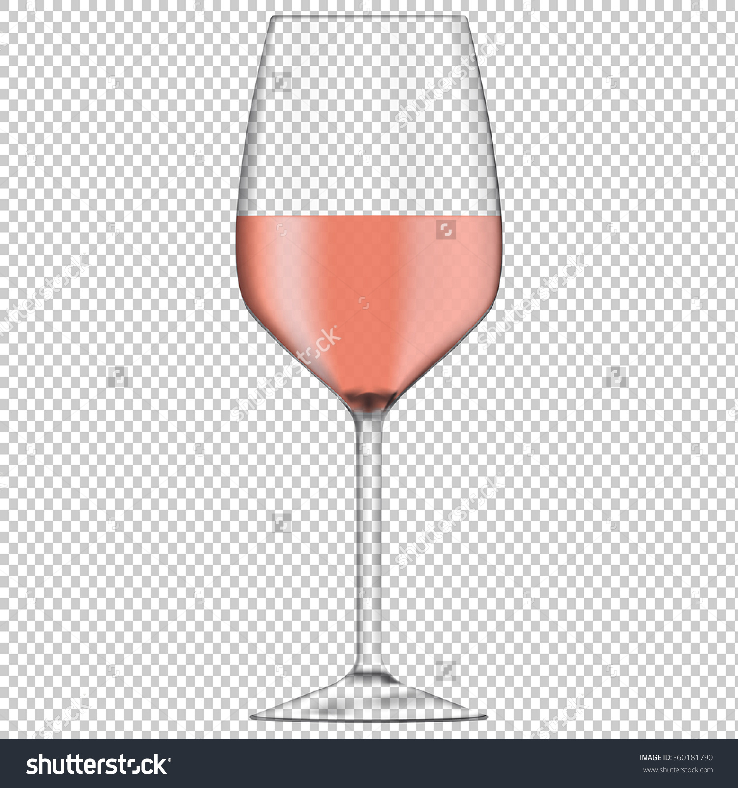 Glass Rose Wine Transparent Vector Isolated Stock Vector 360181790.