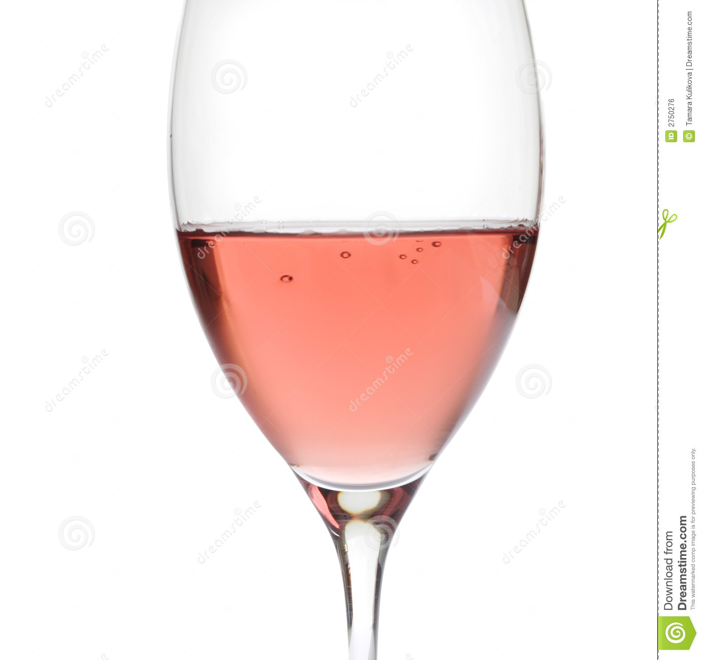 Rose Wine In Crystal Glass, Stock Photography.