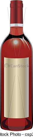 Vector Illustration of Rose wine bottle.
