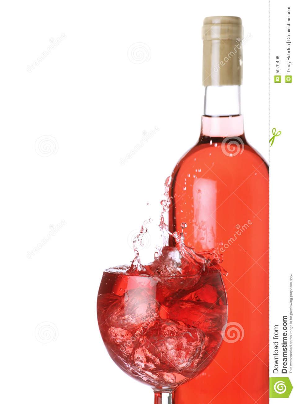Rose Wine On Ice Royalty Free Stock Image.