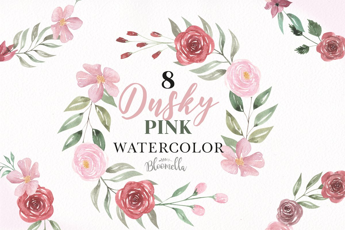 Dusky Pink Rose Wreath Clipart Set.